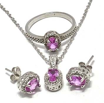 Solid .925 Sterling Silver, 0.02ctw Genuine Diamond & 1.75ctw Pink Topaz Set of Necklace&Earrings&Ring