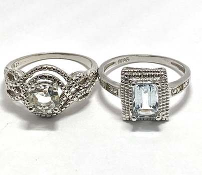 Solid .925 Sterling Silver, 0.02ctw Genuine Diamond & 2.0ctw Green Amethyst & 1.0ctw White Diamonique Lot of 2 Rings Size 7