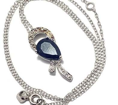 Solid .925 Sterling Silver, 0.02ctw Genuine Diamond & 2.0ctw Midnight Blue Sapphire Necklace