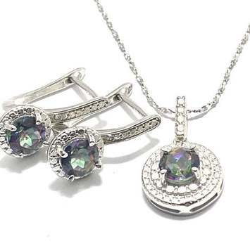 Solid .925 Sterling Silver, 0.02ctw Genuine Diamond & 3.0ctw Mystic Topaz Set of Necklace&Earrings