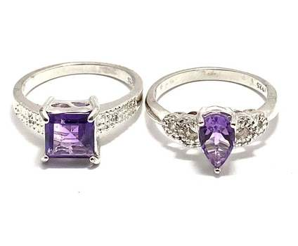 Solid .925 Sterling Silver, 0.02ctw Genuine Diamond & 4.25ctw Amethyst Lot of 2 Rings Size 7