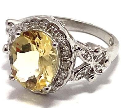 Solid .925 Sterling Silver, 0.02ctw Genuine Diamond & 4.25ctw Citrine Ring Size 7
