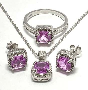 Solid .925 Sterling Silver, 0.04ctw Genuine Diamond & 3.50ctw Pink Topaz Set of Necklace&Earrings&Ring