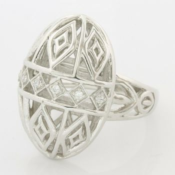 Solid .925 Sterling Silver, 0.05ctw (AAA Grade) CZ's Modern Design Ring size 7