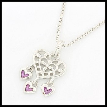 Solid .925 Sterling Silver, 0.09ctw Pink Topaz Heart Shape Necklace
