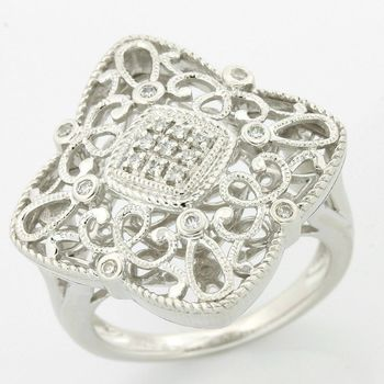 Solid .925 Sterling Silver, 0.10ctw (AAA Grade) CZ's Antique Style Ring size 7