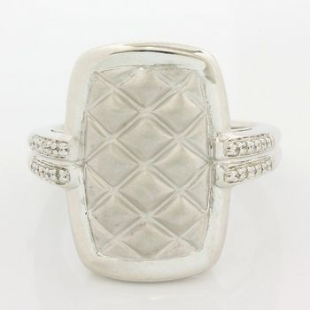 Solid .925 Sterling Silver, 0.10ctw (AAA Grade) CZ's Modern Design Ring size 7