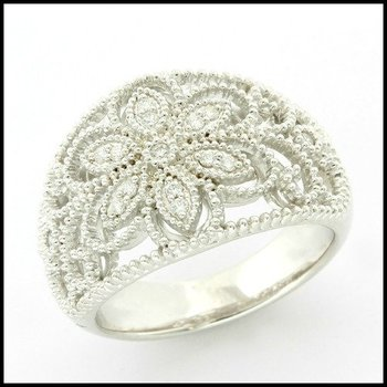 Solid .925 Sterling Silver, 0.15ctw (AAA Grade) CZ's Vintage Design Filigree Ring sz 7