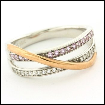 Solid .925 Sterling Silver, 0.18ctw Genuine White Topaz & 0.16ctw Genuine Pink Topaz Ring sz 7