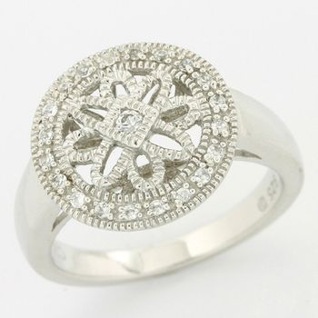 Solid .925 Sterling Silver, 0.20ctw (AAA Grade) CZ's Vintage Design Ring size 7