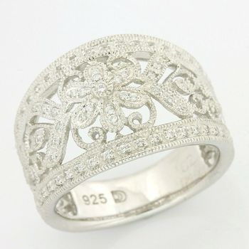 Solid .925 Sterling Silver, 0.21ctw (AAA Grade) CZ's Antique Design Ring size 7