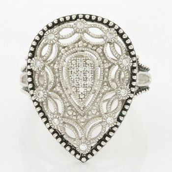 Solid .925 Sterling Silver 0.25ct (AAA Grade) CZ's Antique Design Ring size 6.75