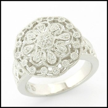 Solid .925 Sterling Silver, 0.25ctw (AAA Grade) CZ's Antique Design Filigree Ring sz 7