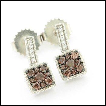 Solid .925 Sterling Silver, 0.25ctw Genuine Cognac Topaz & 0.07ctw Genuine White Topaz Earrings