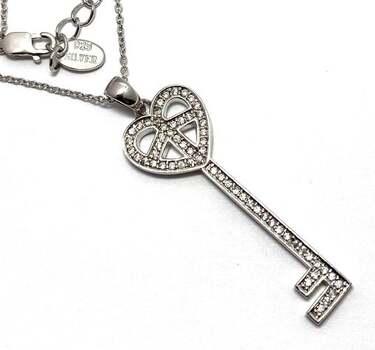 Solid .925 Sterling Silver, 0.25ctw White Diamonique Necklace