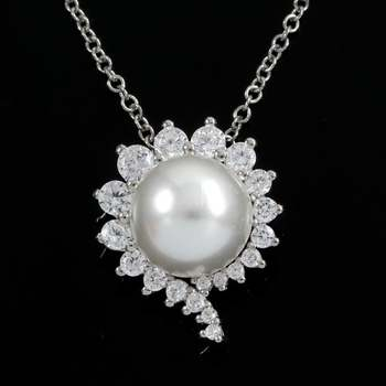 Solid .925 Sterling Silver, 0.25ctw White Topaz & 8mm White Pearl Necklace