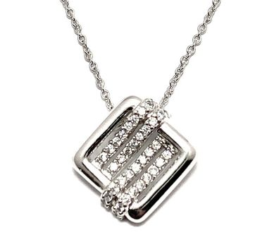 Solid .925 Sterling Silver, 0.25ctw White Topaz Necklace