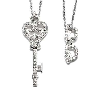 Solid .925 Sterling Silver, 0.35ctw White Diamonique Lot of 2 Necklaces