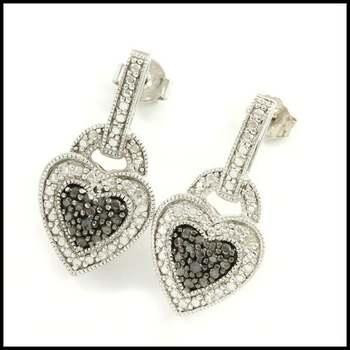 Solid .925 Sterling Silver, 0.3ctw Genuine White&Black Diamond Earrings