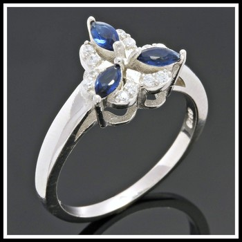 Solid .925 Sterling Silver, 0.40ctw White Topaz & Sapphire Ring sz 6