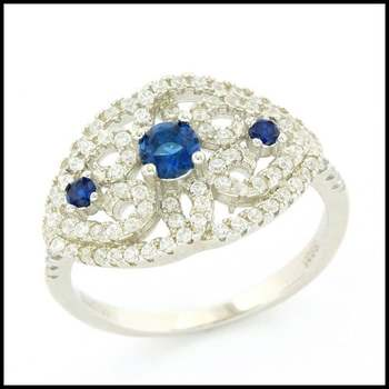 Solid .925 Sterling Silver, 0.44ctw White Sapphire & 0.28ctw Sapphire Ring sz 6.25