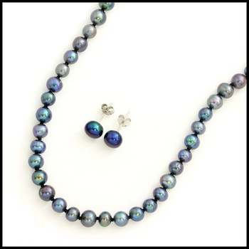 Solid .925 Sterling Silver, 0.5 - 0.8mm Fresh Water Pearl Set of Necklace & Earrings