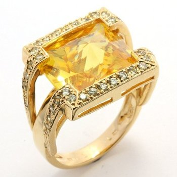 Solid .925 Sterling Silver, 0.50ctw AAA Grade CZ's & Citrine Ring sz 7