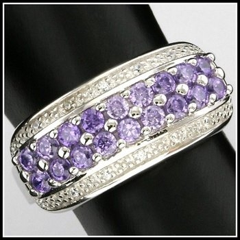 Solid .925 Sterling Silver, 0.50ctw Amethyst & White Sapphire Ring sz 6.5