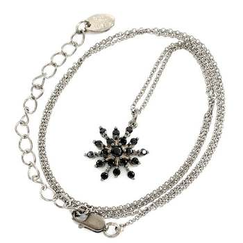 Solid .925 Sterling Silver, 0.50ctw Black Spinel Necklace