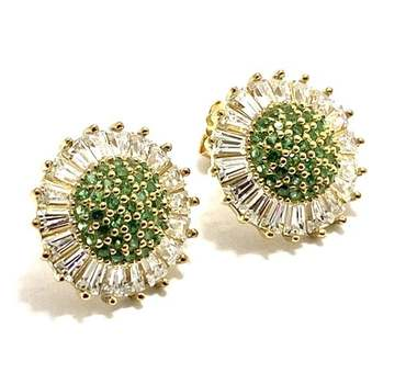 Solid .925 Sterling Silver, 0.50ctw Emerald & 1.0ctw White Diamonique Earrings