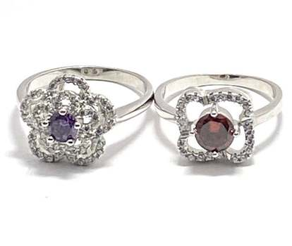 Solid .925 Sterling Silver, 0.50ctw Orange Topaz & 0.20ctw Amethyst & 0.50ctw White Diamonique Lot of 2 Rings Size 7; 8.5