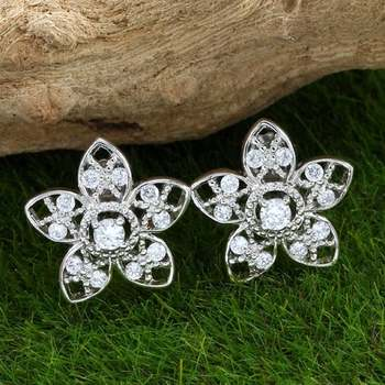 Solid .925 Sterling Silver, 0.50ctw White Topaz Stud Earrings
