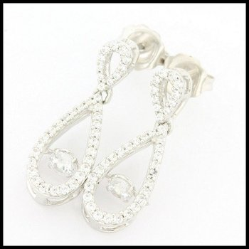 "Solid .925 Sterling Silver, 0.60ctw Genuine White Topaz ""Dancing Diamond"" Earrings"