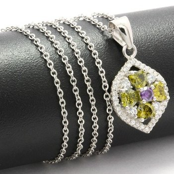 Solid .925 Sterling Silver, 0.73ctw Peridot, Amethyst & White Sapphire Necklace
