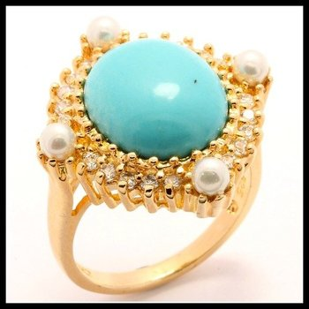 Solid .925 Sterling Silver, 0.75ctw AAA Grade CZ's,Pearls & Tourmaline Ring Size 8