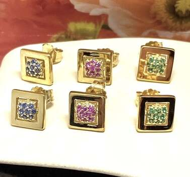 Solid .925 Sterling Silver, 0.75ctw Sapphire & Emerald & Ruby Lot of 3 Pair of Earrings