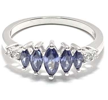 Solid .925 Sterling Silver, 0.75ctw Tanzanite & 0.08ctw White Diamonique Ring Size 7.5