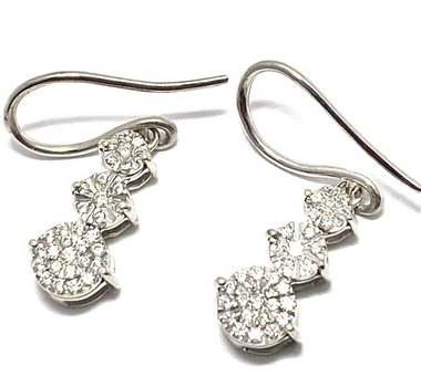Solid .925 Sterling Silver, 0.75ctw White Diamonique Earrings