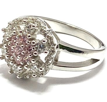 Solid .925 Sterling Silver, 0.90ctw Pink & White Topaz Ring sz 6