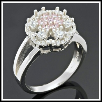 Solid .925 Sterling Silver, 0.90ctw Pink & White Topaz Ring sz 8