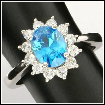 Solid .925 Sterling Silver, 0.95ctw Blue Topaz & White Sapphire Ring sz 6