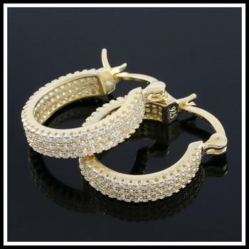 Solid .925 Sterling Silver, 1.00ctw (AAA Grade) CZ's Hoop Earrings