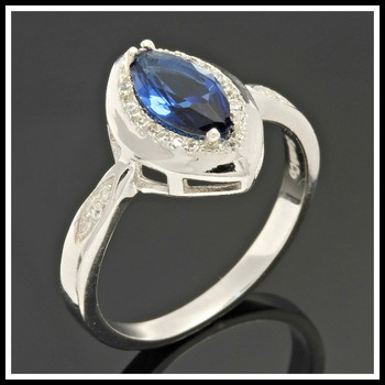 Solid .925 Sterling Silver, 1.00ctw White & Blue Sapphire Ring sz 8.5
