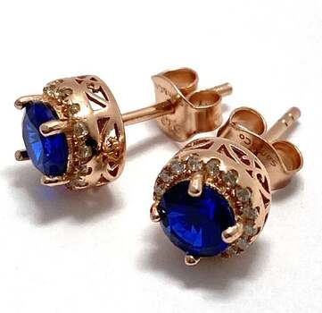 Solid .925 Sterling Silver, 1.0ctw Blue Sapphire & 0.25ctw White Sapphire Designer Sam & Co. Earrings