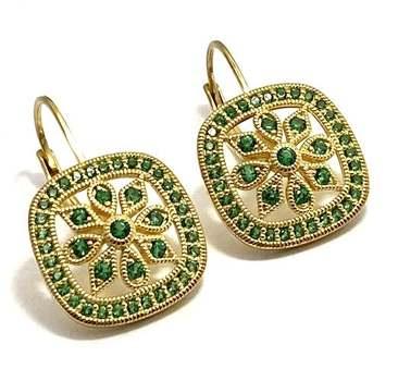 Solid .925 Sterling Silver, 1.0ctw Emerald Earrings