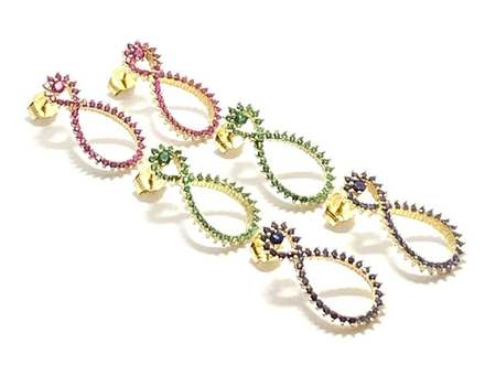 Solid .925 Sterling Silver, 1.0ctw Ruby & 1.0ctw Sapphire & 1.0ctw Emerald Lot of 3 Pair of Earrings