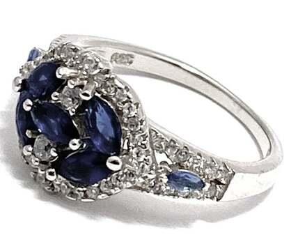 Solid .925 Sterling Silver, 1.0ctw Sapphire & 0.35ctw White Diamonique Designer Sam & Co. Ring Size 8