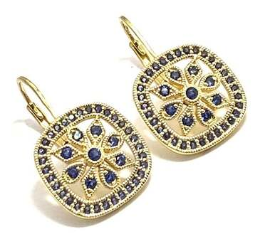 Solid .925 Sterling Silver, 1.0ctw Sapphire Earrings
