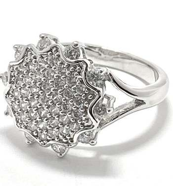 Solid .925 Sterling Silver, 1.0ctw White Diamonique Ring Size 7