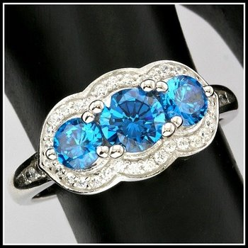 Solid .925 Sterling Silver, 1.10ctw (AAA Grade) Blue CZ's & White Sapphire Ring sz 6